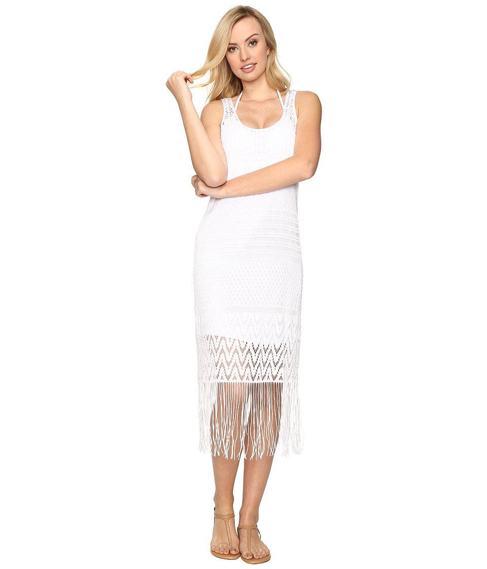 La Blanca Crystal Cove Crotchet Tank Dress Cover-Up (White) Women