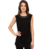MICHAEL Michael Kors - Leather Yoke Side Pleat Top