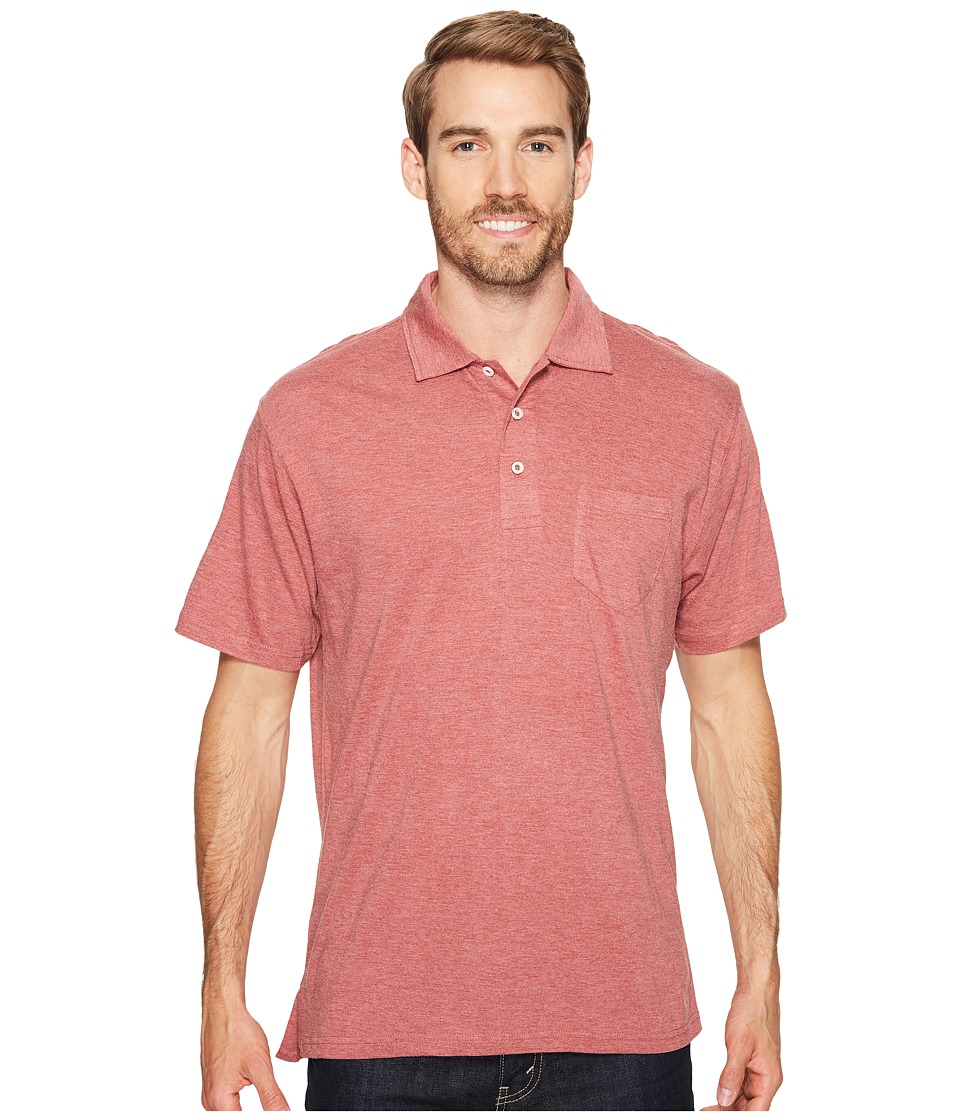 Mountain Khakis - Patio Polo Shirt (Rojo Heather) Mens Short Sleeve Pullover