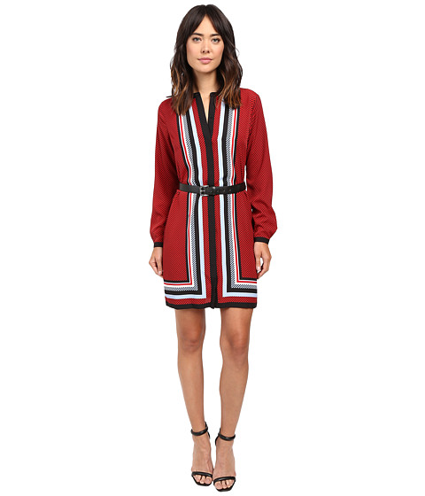 MICHAEL Michael Kors Optic Scarf Long Sleeve Dress