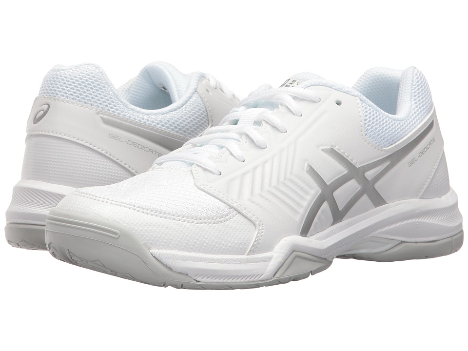 Asics Gel-Dedicate 5 (White/Silver) Women's Tennis Shoes