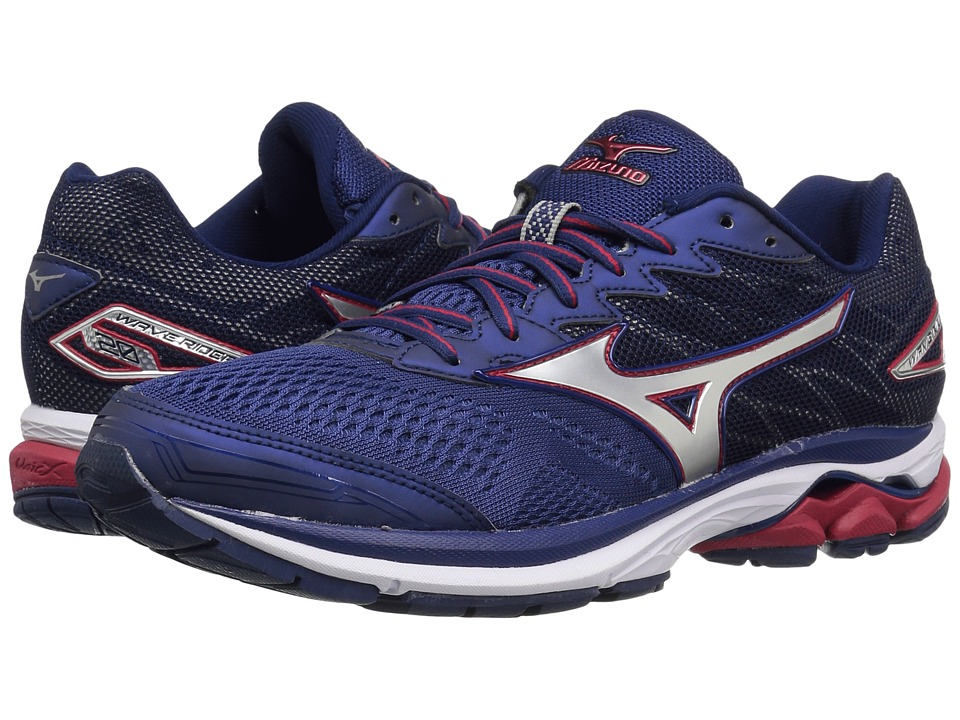 Mizuno Wave Rider 20 (Blue Depths/Silver/Chinese Red) Men