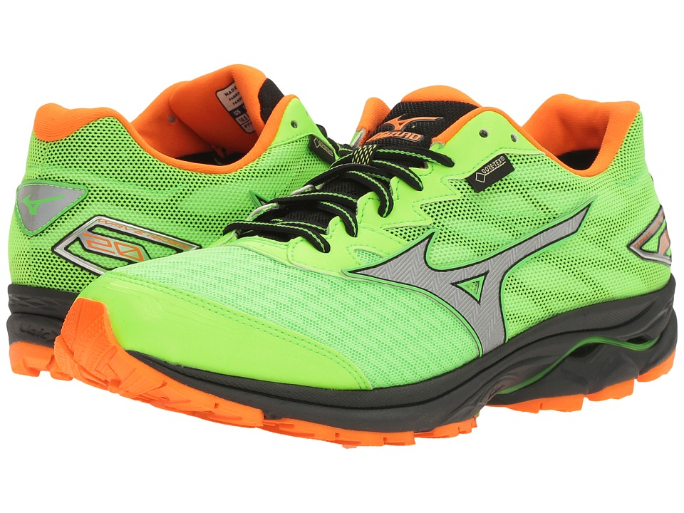 Mizuno - Wave Rider 20 GTX (Green Gecko/Clownfish/Silver) Men's Running Shoes