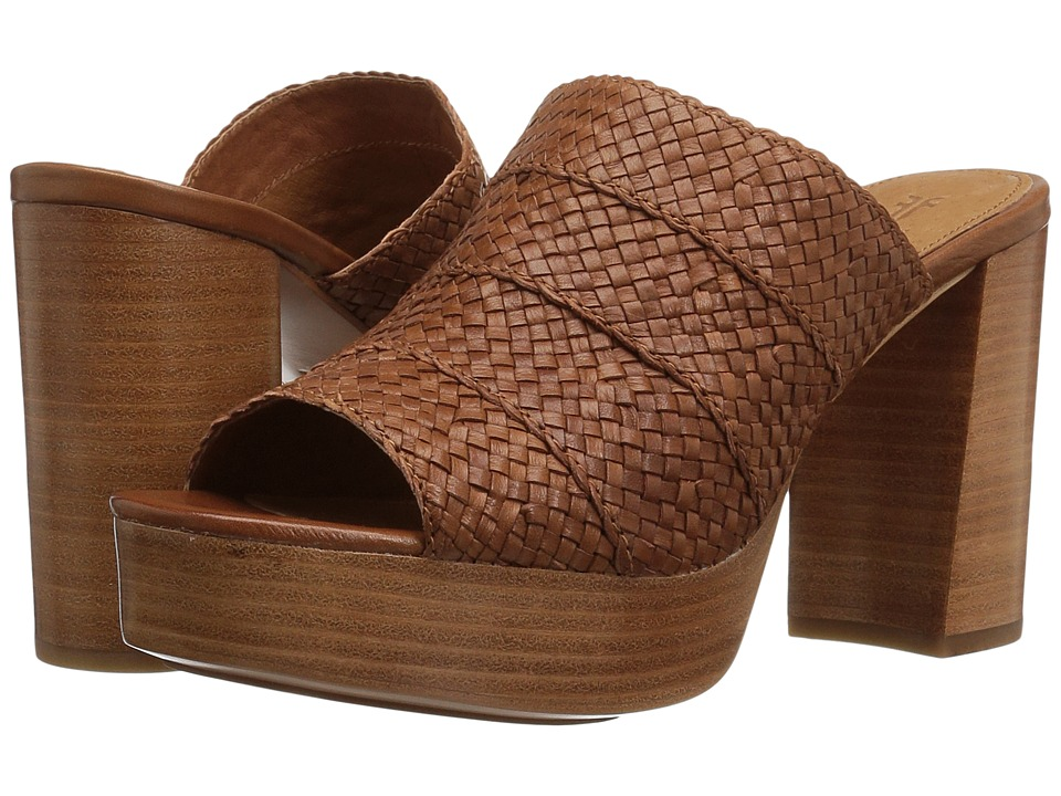 Frye Katie Woven Slide (Cognac Polished Soft Full Grain) High Heels