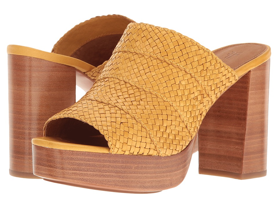 Frye Katie Woven Slide (Yellow Polished Soft Full Grain) High Heels