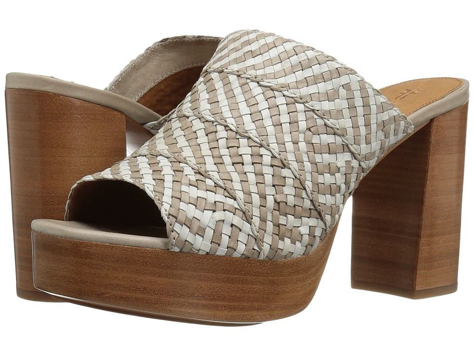 Frye Katie Woven Slide (White Multi Polished Soft Full Grain) High Heels