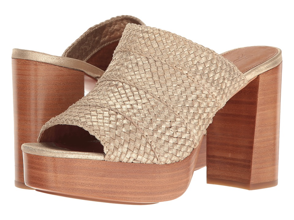 Frye Katie Woven Slide (Gold Smooth Metallic) High Heels