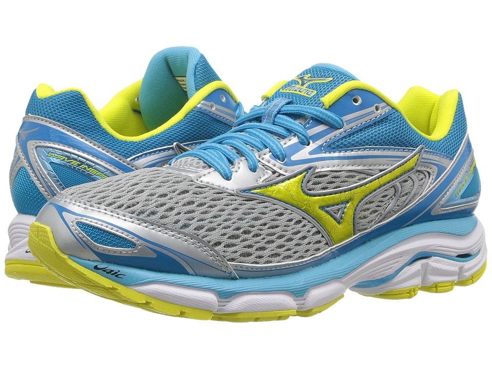 Mizuno - Wave Inspire 13 (High-Rise/Bolt/Blue Atoll) Womens Running Shoes
