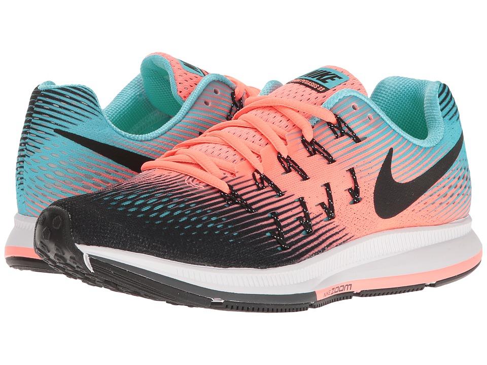 Nike - Air Zoom Pegasus 33 (Black/Black/Lava Glow/Polarized Blue) Womens Running Shoes