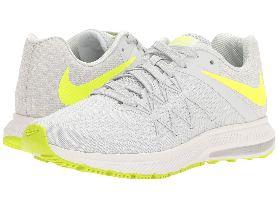 Nike - Zoom Winflo 3 (Pure Platinum/Volt/White/White) Womens Running Shoes