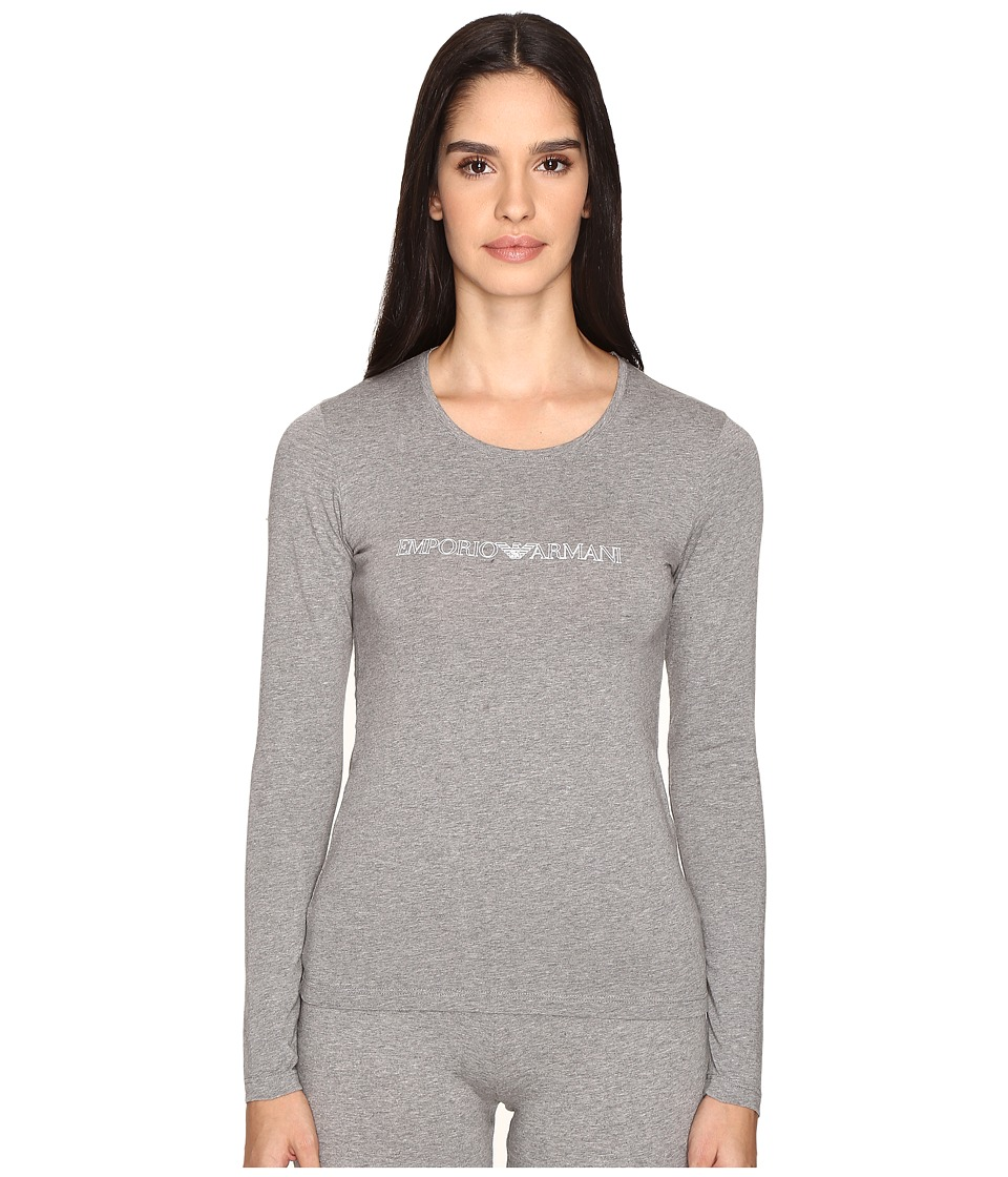 Emporio Armani - Visibility Stretch Cotton Long Sleeve T-Shirt (Dark Grey Melange) Women's T Shirt