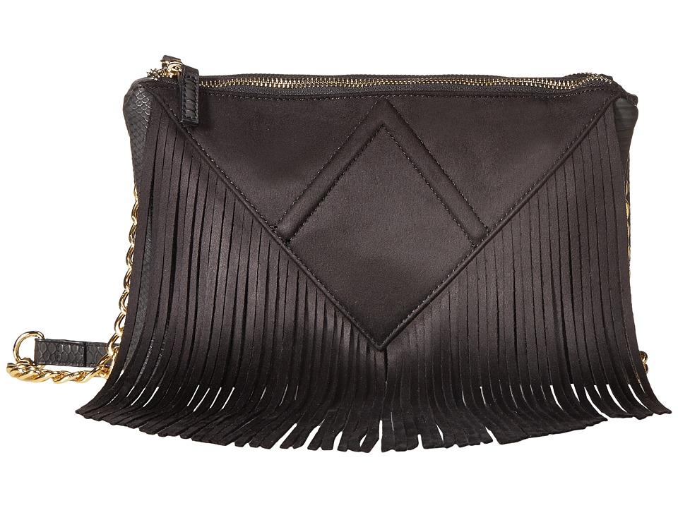 Steve Madden - Bporter Fringe Crossbody (Black) Cross Body Handbags