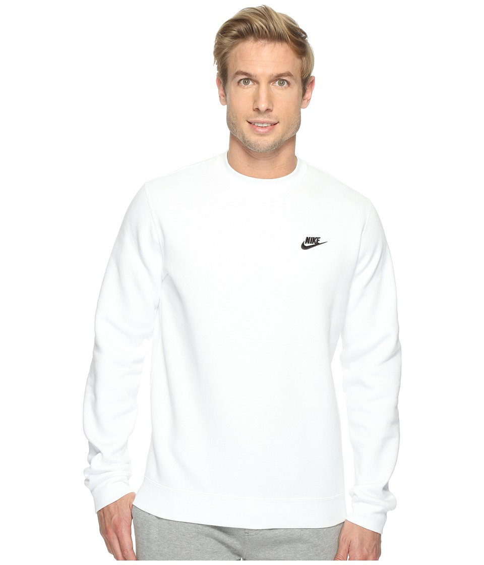 Nike Club Fleece Pullover Crew (White/Black) Men