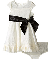 Us Angels - Lace/Taffeta Cap Sleeve Dress with Ruffle Hem (Infant)