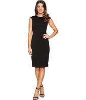 Tahari by ASL - Sleeveless Scuba Sheath with Embellished Neckline