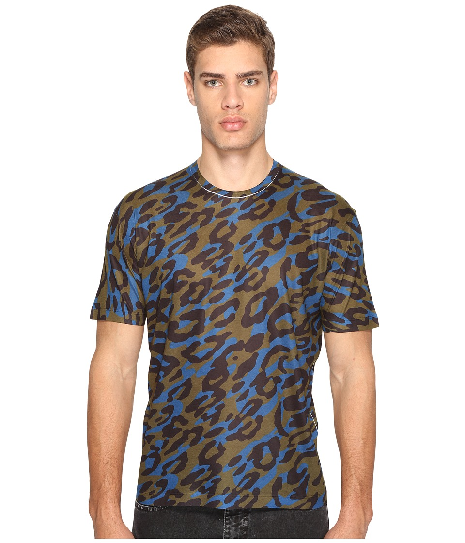 DSQUARED2 Cheetah Print T-Shirt (Green/Black/Blue) Men