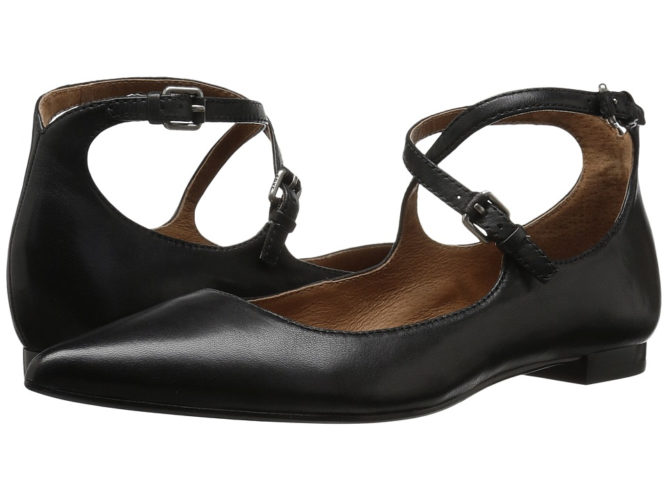 Frye Sienna Cross Ballet (Black Soft Nappa Lamb) Women