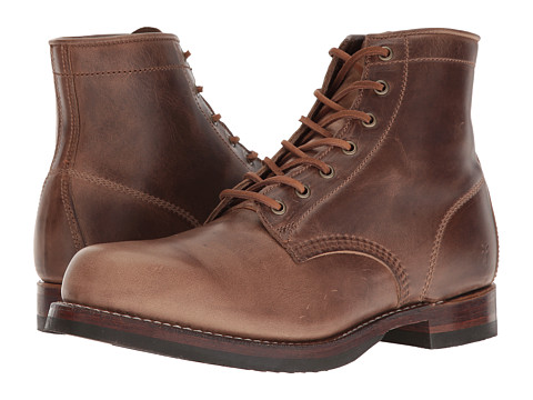 Frye John Addison Lace-Up - Tan Smooth Pull-Up Leather