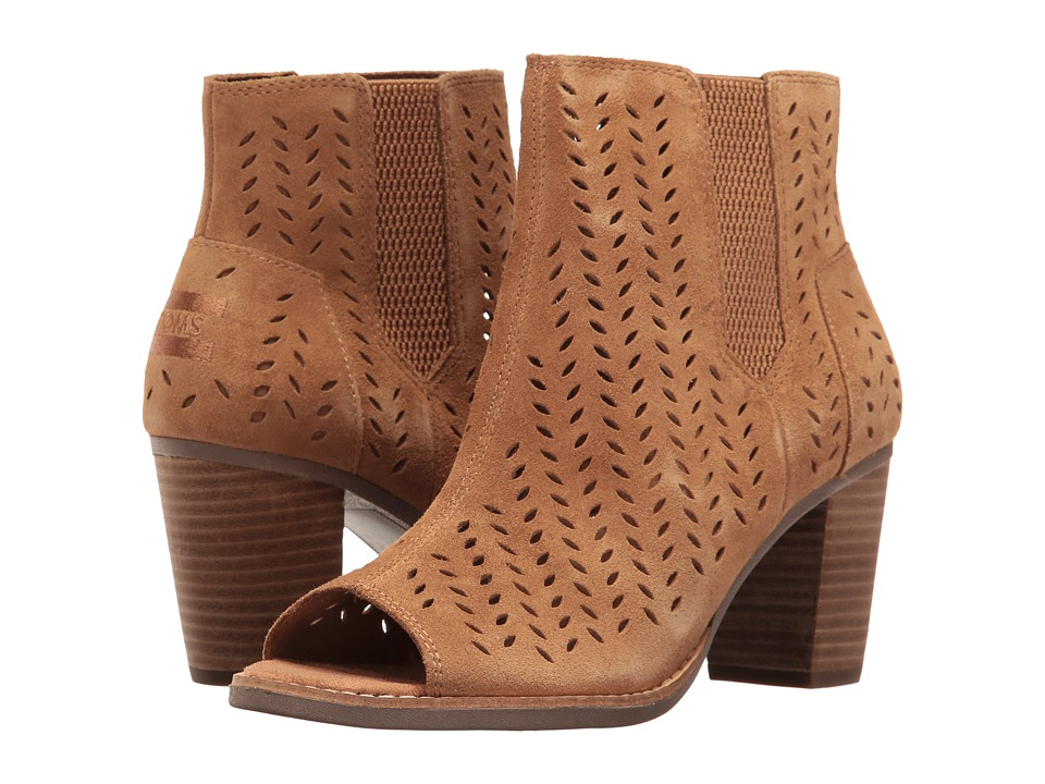 TOMS Majorca Peep Toe Bootie (Toffee Suede Perforated Leaf) Women