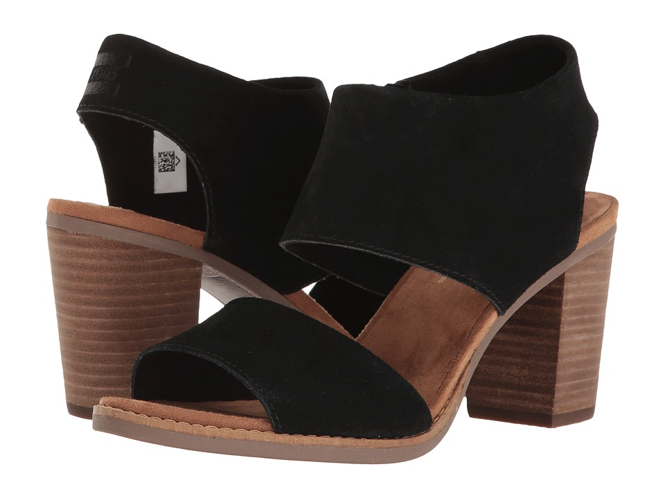 TOMS Majorca Cutout Sandal (Black Suede) Women's Shoes