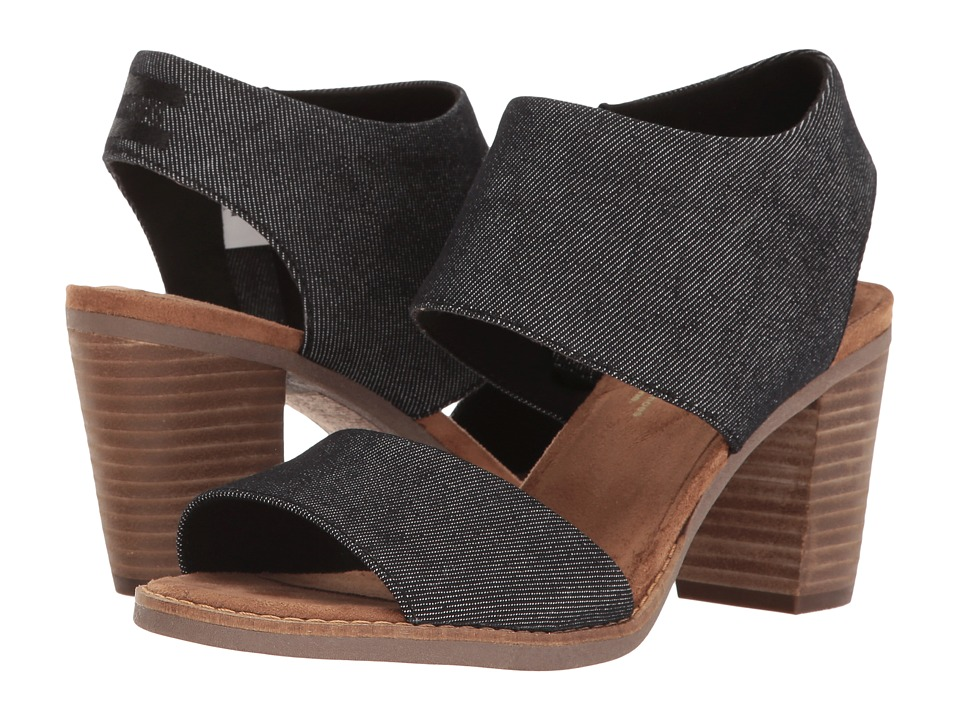 TOMS Majorca Cutout Sandal (Black Denim) Women