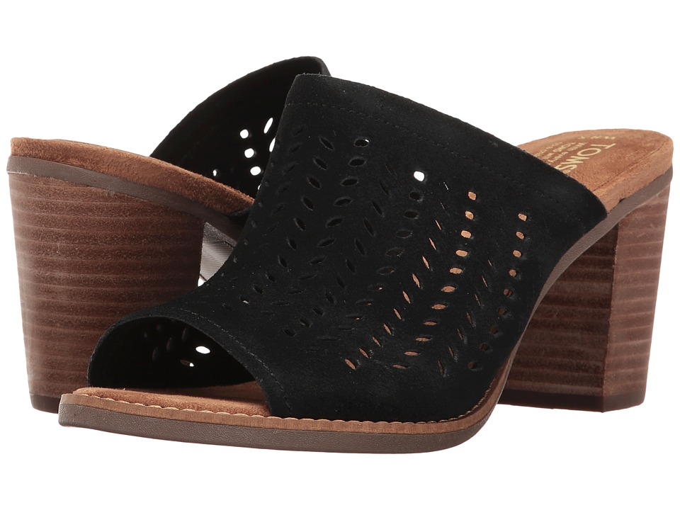 0ed745d761e TOMS Majorca Mule Sandal (Black Suede Perforated Leaf) Womens Clog-Mule  Shoes