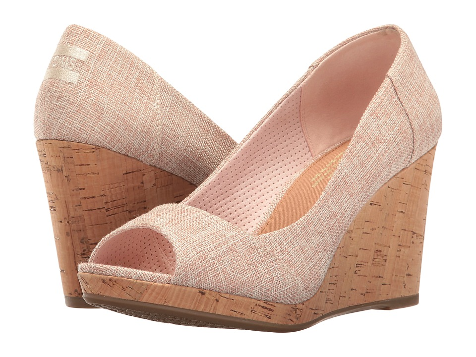 TOMS - Stella Wedge (Pale Pink Lurex Woven) Women's Wedge Shoes