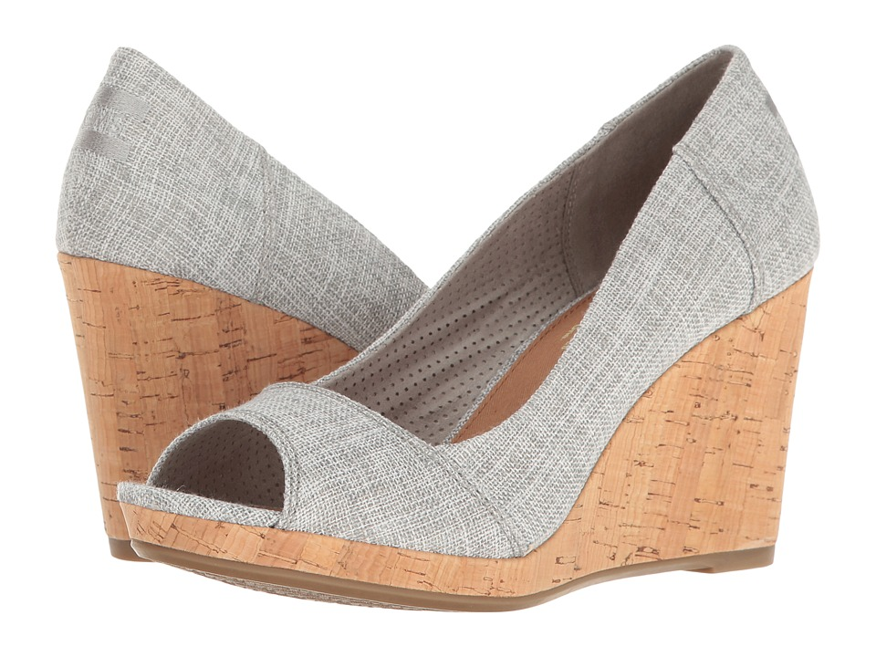 TOMS - Stella Wedge (Drizzle Grey Lurex Woven) Women's Wedge Shoes