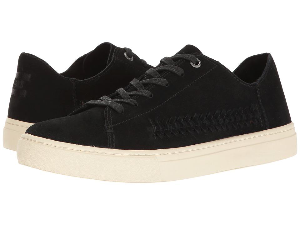 TOMS Lenox Sneaker (Black Deconstructed Suede/Woven Panel) Women