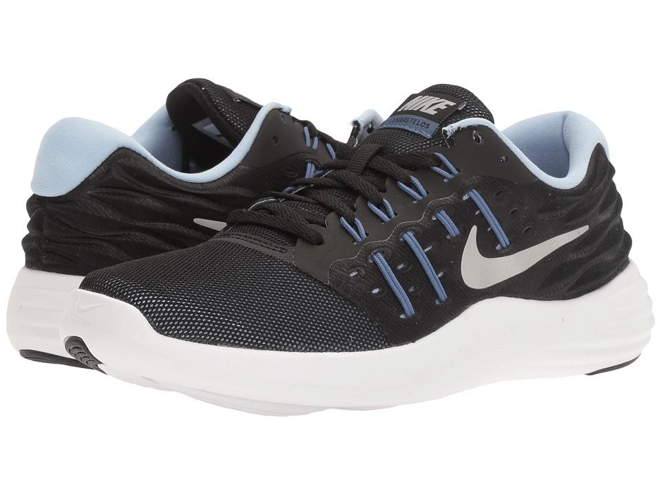 Nike - Lunarstelos (Black/Metallic Silver/Blue Moon/Aluminum) Womens Running Shoes