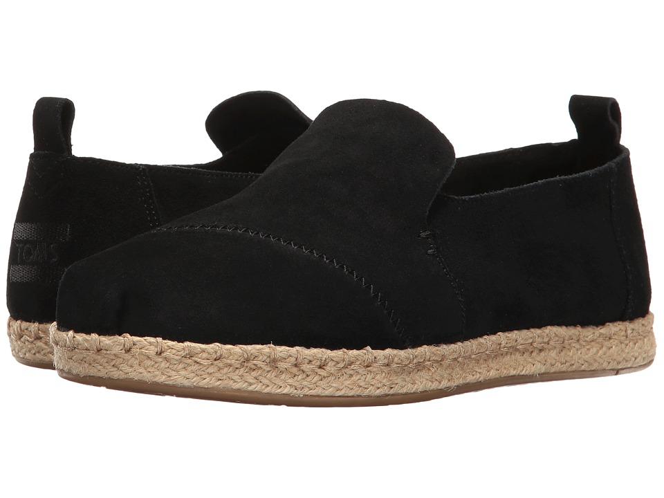 TOMS Deconstructed Alpargata (Black Suede) Slip-On Shoes