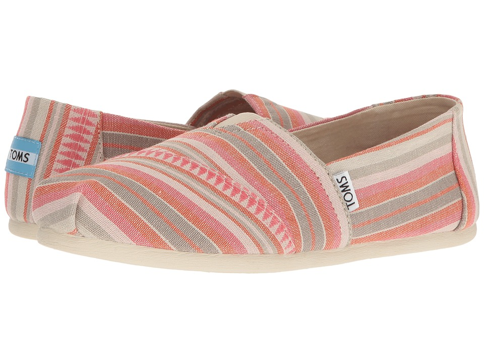 Toms Seasonal Classics (Coral Blanket Stripe) Women's Sli...