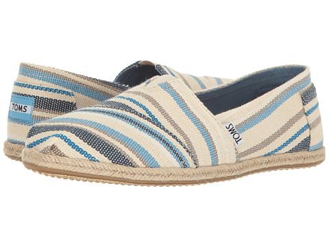 TOMS Seasonal Classics - Blue Aster Woven Stripe Rope Sole