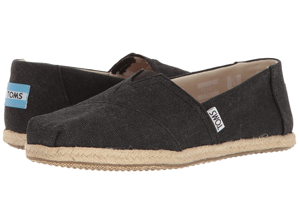 TOMS Seasonal Classics (Black Washed Canvas Rope Sole) Women