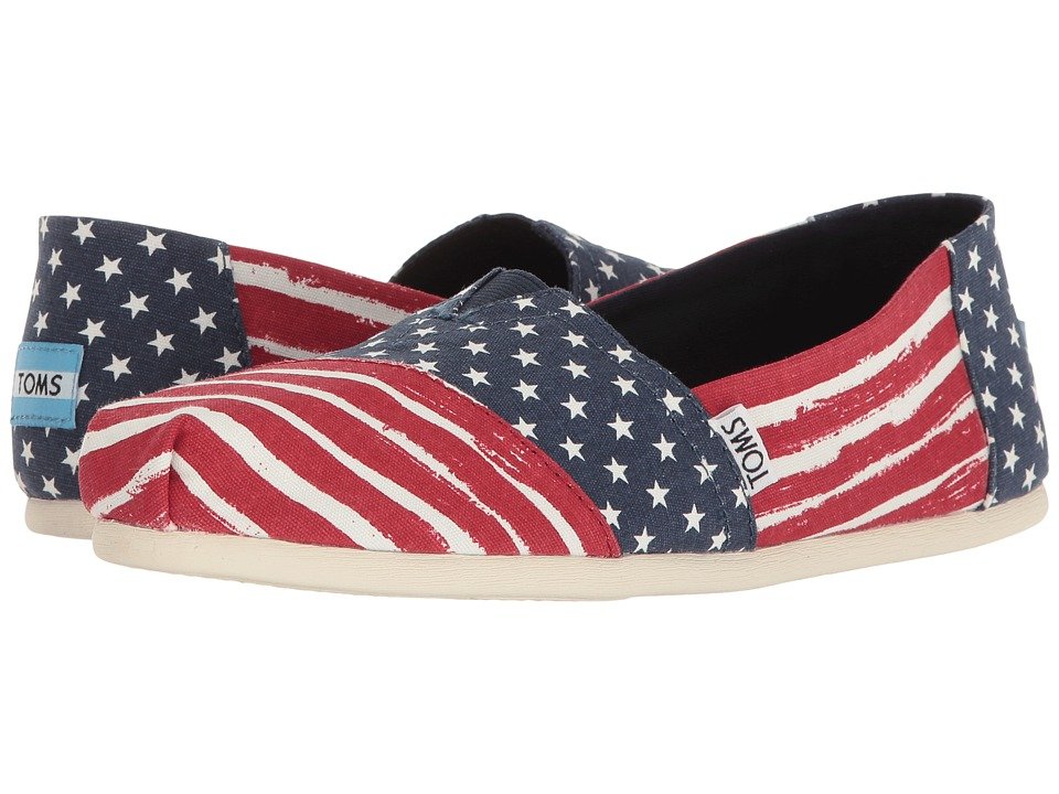 Toms Seasonal Classics (Red/Navy Americana) Women's Slip ...