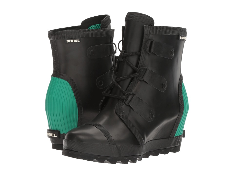 SOREL Joan Rain Wedge (Black/Bright Emerald) Women