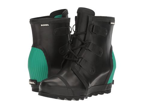 SOREL Joan Rain Wedge - Black/Bright Emerald