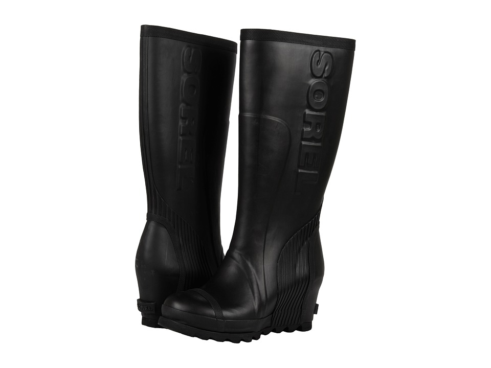 SOREL Joan Rain Wedge Tall (Black/Sea Salt) Women's Rain Boots