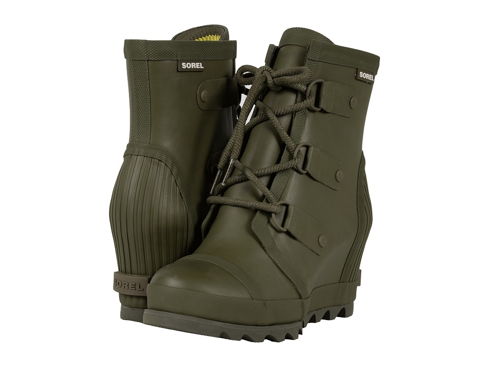 SOREL - Joan Rain Wedge (Nori/Zest) Womens Rain Boots