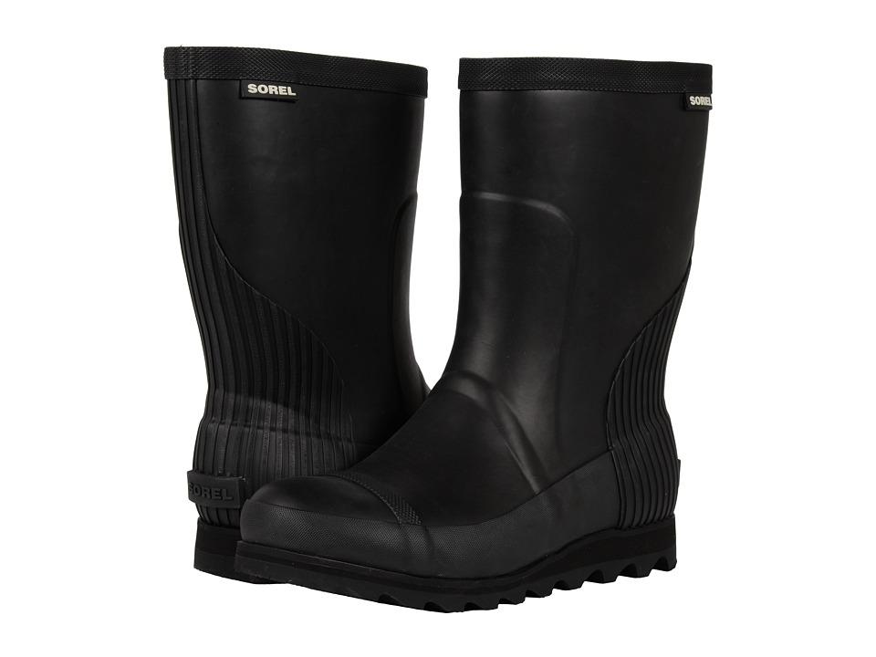 SOREL Joan Rain Short (Black/Sea Salt) Women's Rain Boots