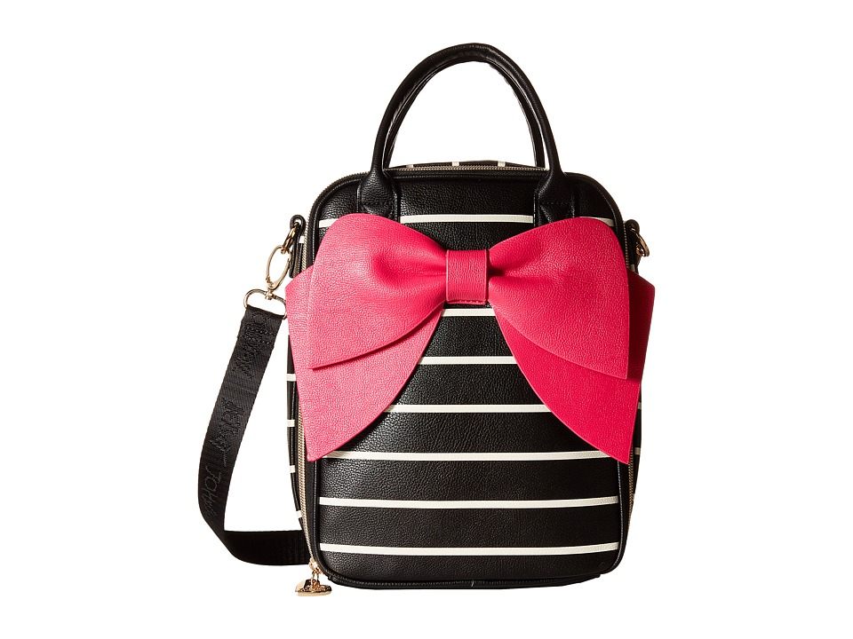 Betsey Johnson - Bow Lunch Tote (Black/Stripe) Tote Handbags