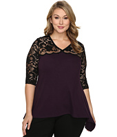 Karen Kane Plus - Plus Size Lace Yoke Flare Top