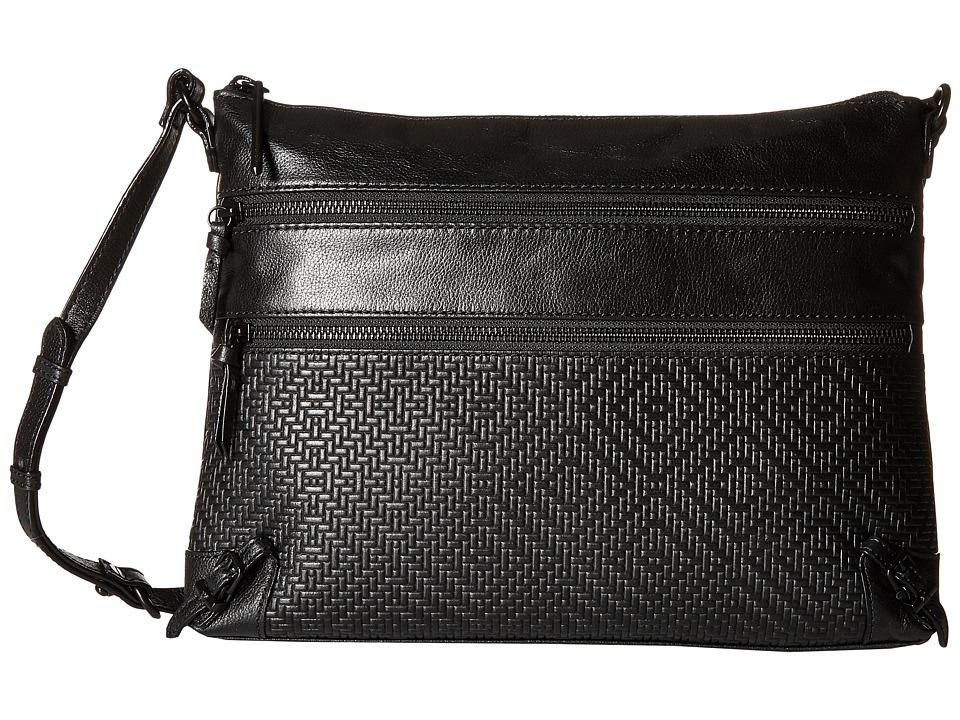Elliott Lucca - Mari 3 Zip Crossbody (Black) Cross Body Handbags
