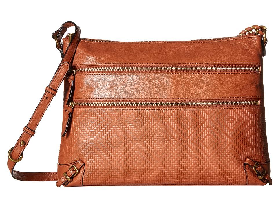 Elliott Lucca - Mari 3 Zip Crossbody (Cognac) Cross Body Handbags