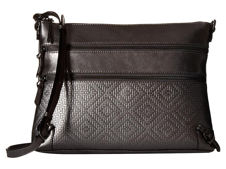 Elliott Lucca - Mari 3 Zip Crossbody (Graphite) Cross Body Handbags
