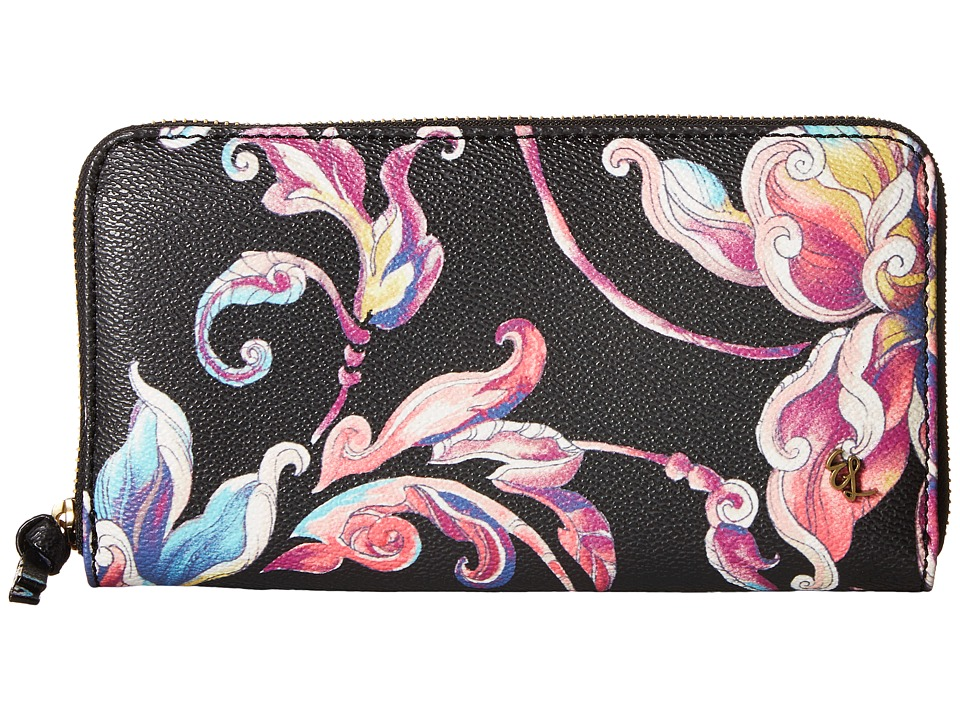 Elliott Lucca - Large Zip Wallet (Black Wildflower) Wallet Handbags