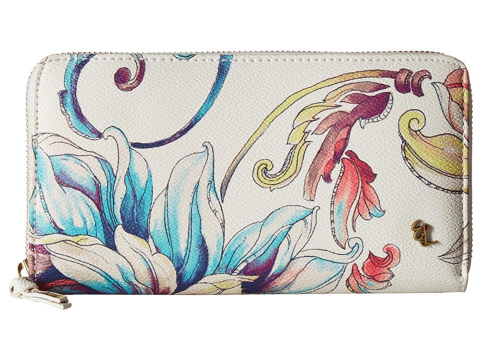 Elliott Lucca - Large Zip Wallet (White Wildflower) Wallet Handbags