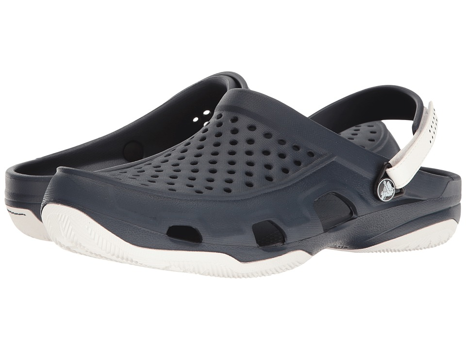 Crocs Swiftwater Deck Clog (Navy/White) Men's Clog/Mule S...