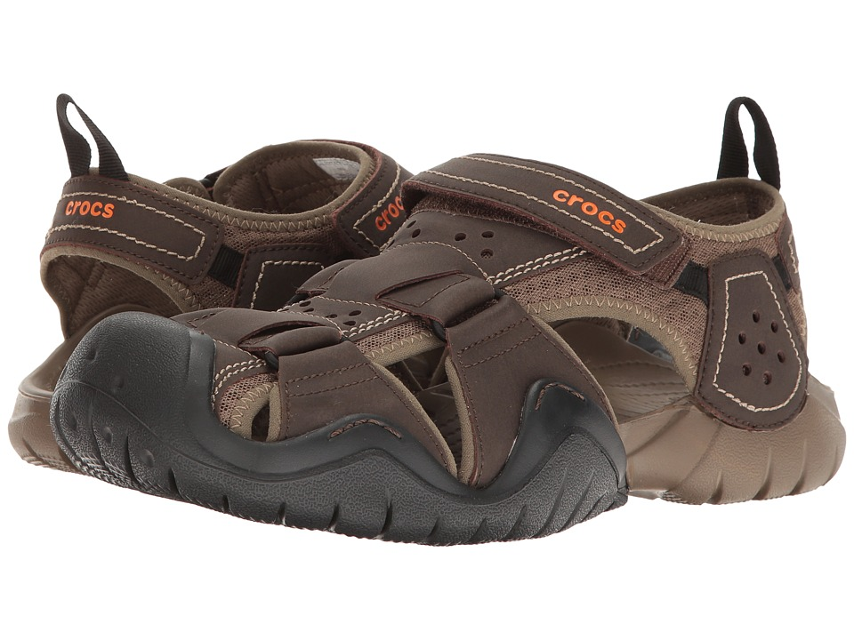 Crocs - Swiftwater Leather Fisherman (Espresso/Walnut) Mens Sandals