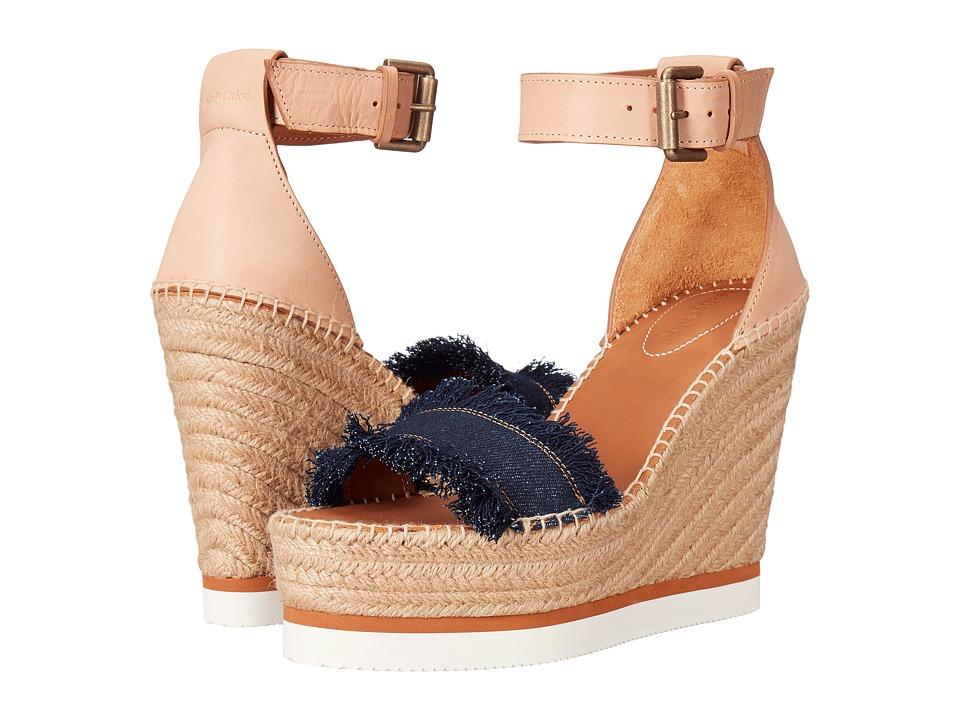 See by Chloe - SB28152 (Navy/Beige) Womens Wedge Shoes